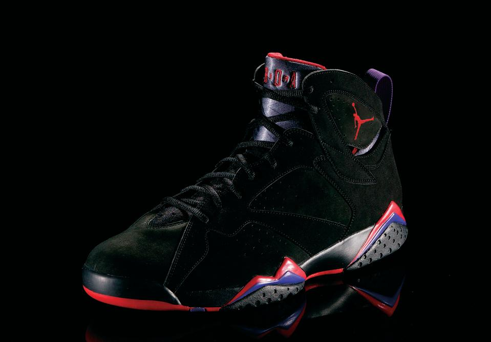 "<p>Air Jordan VII - ""Pure Gold"" (1992): NBA title, sixth scoring title, Olympic gold medal. Not a bad year for MJ. Design of the shoe was borrowed from West African tribal art. (Photo courtesy of Nike)</p>"