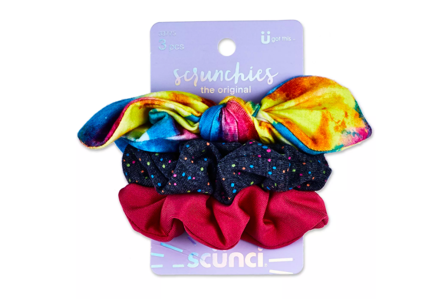 """<h3>Scunci Rainbow Bow And Solid Scrunchies<br></h3><br>Lizzo's <a href=""""https://www.scunci.com/shop-scunciproducts/crystal-scrunchie"""" rel=""""nofollow noopener"""" target=""""_blank"""" data-ylk=""""slk:Kira-Kira Crystal Scrunchie"""" class=""""link rapid-noclick-resp"""">Kira-Kira Crystal Scrunchie</a> has more than 5,000 hand-applied rhinestones and sells for $99, but you can channel her on a budget with the studded elastic in this pack from <a href=""""https://www.refinery29.com/en-us/2019/03/226506/target-hair-clips-headbands-accessories-spring-2019"""" rel=""""nofollow noopener"""" target=""""_blank"""" data-ylk=""""slk:Target"""" class=""""link rapid-noclick-resp"""">Target</a>.<br><br><strong>Target</strong> Scunci Rainbow Bow And Solid Scrunchies, $, available at <a href=""""https://go.skimresources.com/?id=30283X879131&url=https%3A%2F%2Fwww.target.com%2Fp%2Fscunci-rainbow-bow-and-solid-scrunchies-3pk%2F-%2FA-75563754"""" rel=""""nofollow noopener"""" target=""""_blank"""" data-ylk=""""slk:Scunci"""" class=""""link rapid-noclick-resp"""">Scunci</a>"""