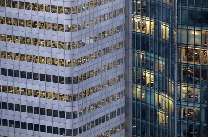 FILE PHOTO: A busy office building is photographed from a tourist platform early evening Frankfurt