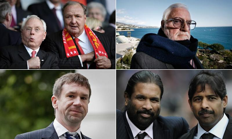 Clockwise from top left: former Liverpool owners George Gillett and Tom Hicks, Ken Bates on the balcony at his Monaco home, Blackburn Rovers owners Balaji and Venkatesh Rao from poultry giant Venky's, and formerm Portsmouth chairman Vladimir Antonov.