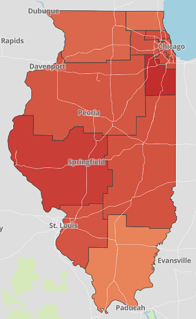 """A map of <a href=""""https://www.dph.illinois.gov/covid19/hospitalization-utilization"""" rel=""""nofollow noopener"""" target=""""_blank"""" data-ylk=""""slk:ICU bed utilization in Illinois"""" class=""""link rapid-noclick-resp"""">ICU bed utilization in Illinois</a> by region shows Region 7, which includes Will and Kankakee counties, has the lowest remaining ICU bed availability in the state at 15 percent, with only 23 remaining ICU beds. (IDPH)"""
