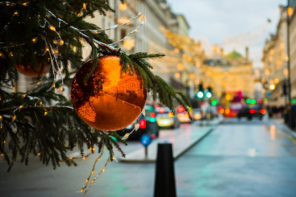 Close up of bauble and Christmas Tree decorations in a London city street