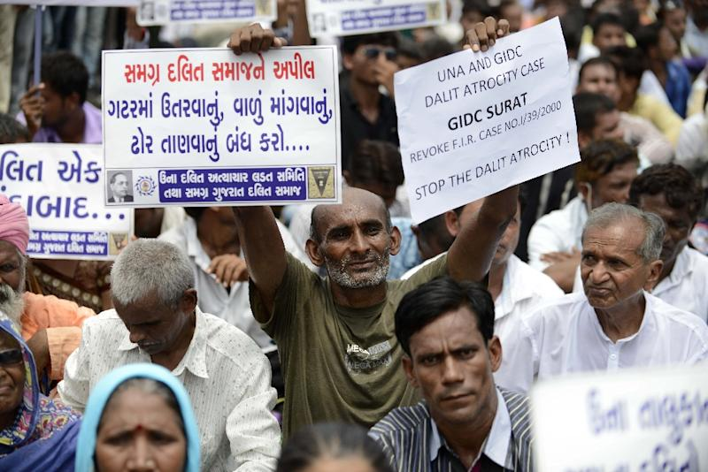 Members of India's Dalit caste at a protest in 2016: a member of the community is being proposed for president