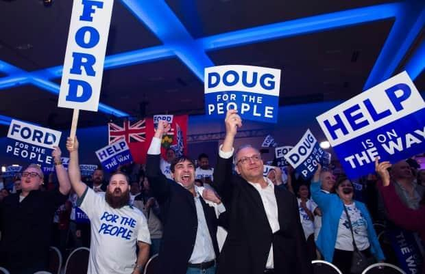 Supporters celebrate Ford's election win in Ontario on June 7, 2018. The PCs won all but four seats in the crucial ridings that encircle Toronto in defeating the governing Liberals.