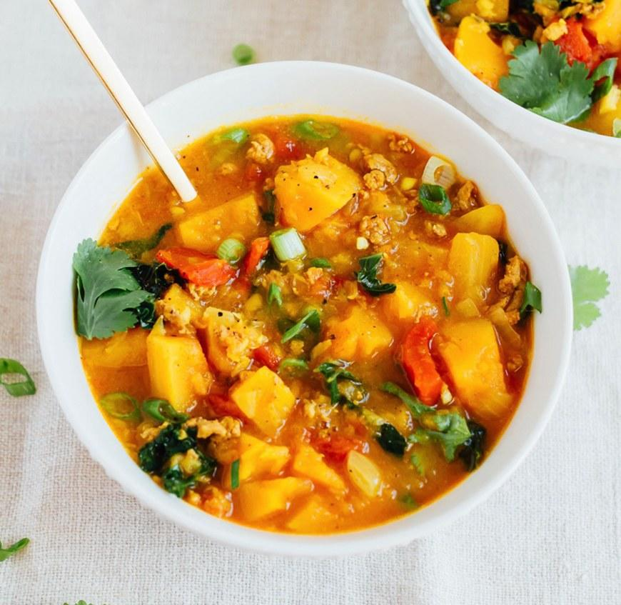 "<p>Squash, lentils, kale, turkey—this chili is packed with lots of healthy, warming ingredients. Get the recipe <a rel=""nofollow"" href=""https://www.eatingbirdfood.com/butternut-squash-and-turkey-chili?mbid=synd_yahoofood"">here</a>.</p>"