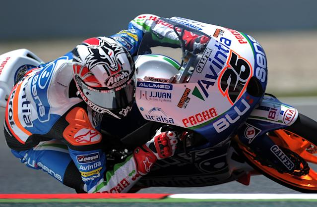 Blusens Avantia's Spanish Maverick Vinales takes a curve at the Catalunya racetrack in Montmelo, near Barcelona, on June 1, 2012, during the Moto 3 second training session the Catalunya Moto GP Grand Prix. AFP PHOTO/LLUIS GENELLUIS GENE/AFP/GettyImages