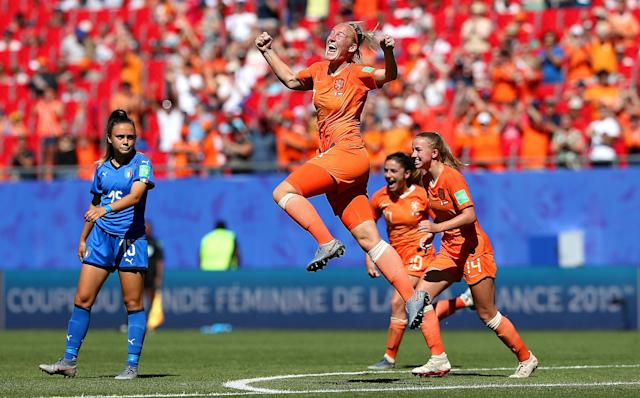 Stefanie Van der Gragt of the Netherlands celebrates after scoring her team's second goal during the 2019 FIFA Women's World Cup France Quarter Final match between Italy and Netherlands at Stade du Hainaut on June 29, 2019 in Valenciennes, France. (Photo by Cathrin Mueller - FIFA/FIFA via Getty Images)