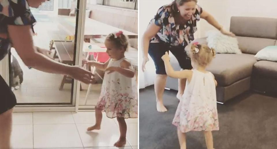 Keira Hockley, has taken her first steps despite being diagnosed with congenital CMV which has affected her brain since birth. She's pictured here with her mum Danielle. Source: Facebook/ Keira's CMV Journey