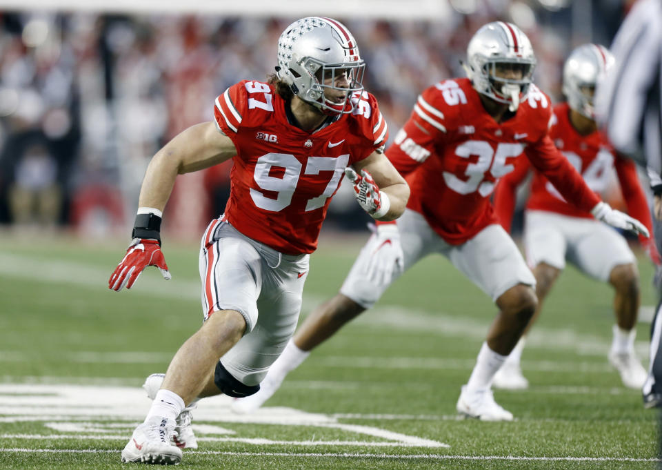 Ohio State defensive end Nick Bosa will reportedly turn his focus to his NFL future. (AP Photo/Jay LaPrete)