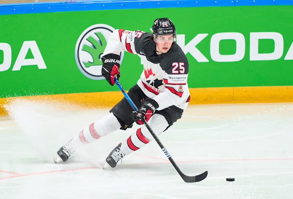 RIGA, LATVIA - JUNE 05:  Owen Power #25 of Canada in action during the 2021 IIHF Ice Hockey World Championship Semi Final game between USA and Canada at Arena Riga on June 5, 2021 in Riga, Latvia. Canada defeated the United States 4-2. (Photo by EyesWideOpen/Getty Images)