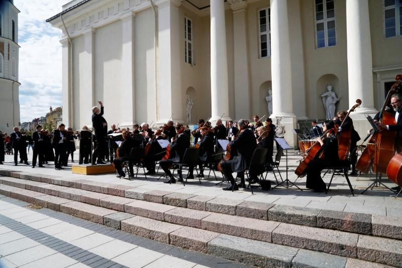 Musicians perform to thank for quick coronavirus disease (COVID-19) containment in Vilnius