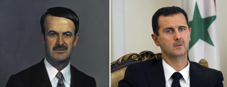 A combo of file photos shows former Syrian President Hafez Assad, left, on Dec. 1, 1972 in an unknown location, and his son, Syrian President Bashar Assad on Aug. 19, 2009, in Tehran, Iran. For fifty years, the Assad family has controlled Syria, overseeing transformations, modernization, uprisings and upheaval while becoming among the most divisive figures of their time. (AP File Photos, right, Vahid Salemi)