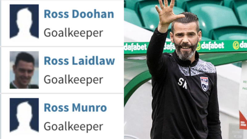 Rossy County and coach Stuart Kettlewell (pictured right) has built recruited three goalkeepers sharing the club's name. (Images: Twitter/Getty Images)