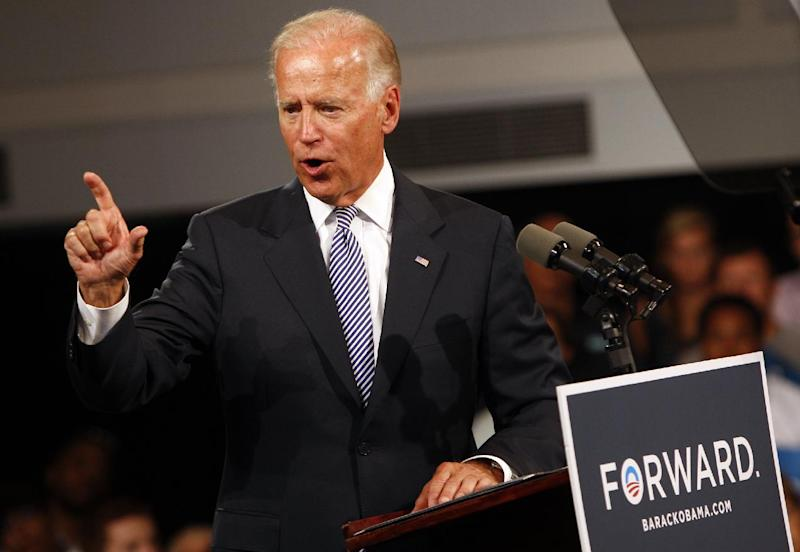 Vice President Joe Biden speaks to campaign supporters Monday, Aug. 13, 2012, during a rally at the Durham Armory in Durham, N.C. (AP Photo/The News & Observer, Travis Long) MANDATORY CREDIT