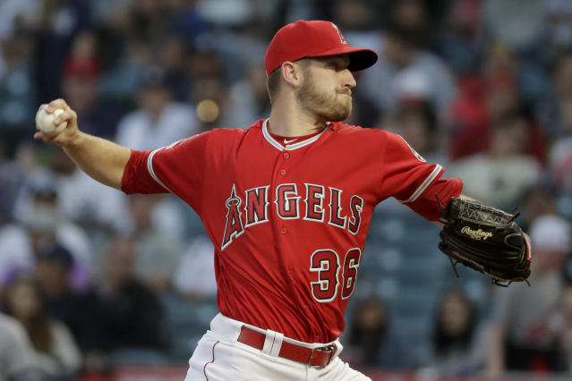 Los Angeles Angels starting pitcher Chris Stratton throws against the New York Yankees during the first inning of a baseball game in Anaheim, Calif., Tuesday, April 23, 2019. (AP Photo/Chris Carlson)