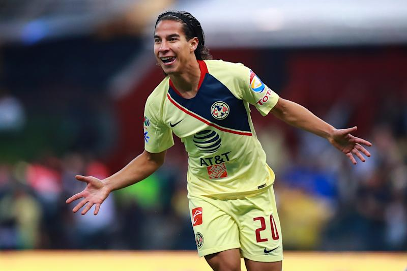MEXICO CITY, MEXICO - DECEMBER 09: Diego Lainez #20 of America celebrates after scoring the 5th goal of his team during the semifinal second leg match between America and Pumas UNAM as part of the Torneo Apertura 2018 Liga MX at Azteca Stadium on December 9, 2018 in Mexico City, Mexico. (Photo by Hector Vivas/Getty Images)