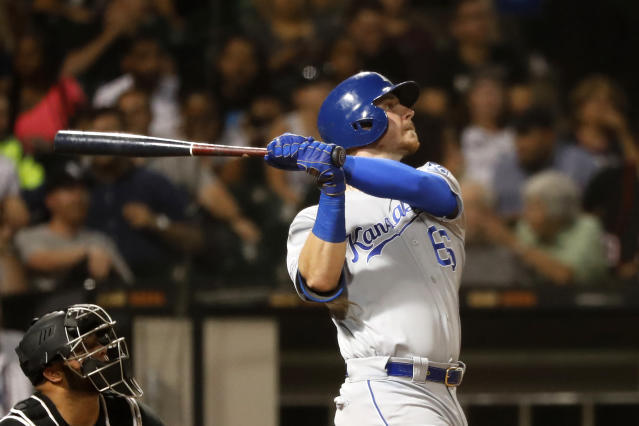 Kansas City Royals' Ryan O'Hearn his home run off Chicago White Sox starting pitcher Reynaldo Lopez during the fifth inning of a baseball game Wednesday, Sept. 11, 2019, in Chicago. (AP Photo/Charles Rex Arbogast)
