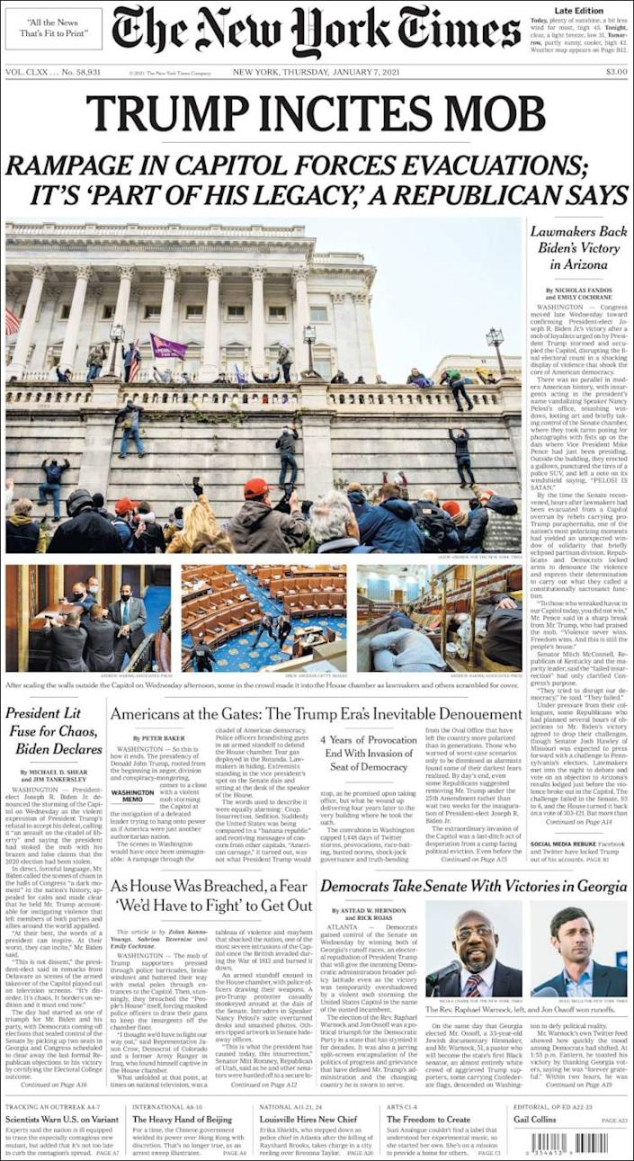 Front page of the New York Times on Thursday