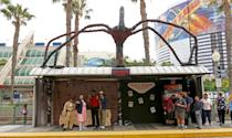 <p>Cosplayers dressed as Eleven, Chief Hopper, Dustin, and Lucas from <em>Stranger Things</em> at Comic-Con International on July 20 in San Diego. (Photo: Angela Kim/Yahoo Entertainment) </p>