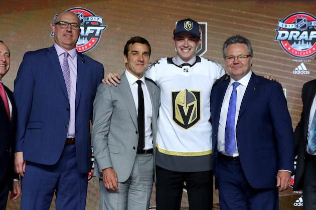 CHICAGO, IL – JUNE 23: Cody Glass poses for photos after being selected sixth overall by the Vegas Golden Knights during the 2017 NHL Draft at the United Center on June 23, 2017 in Chicago, Illinois. (Photo by Bruce Bennett/Getty Images)