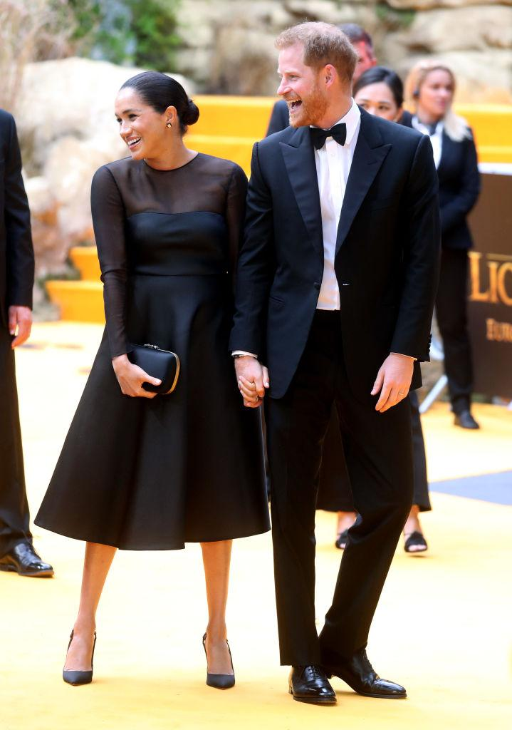 """Prince Harry, Duke of Sussex and Meghan, Duchess of Sussex attend """"The Lion King"""" European Premiere at Leicester Square on July 14, 2019 in London, England. (Photo by Chris Jackson/Getty Images)"""