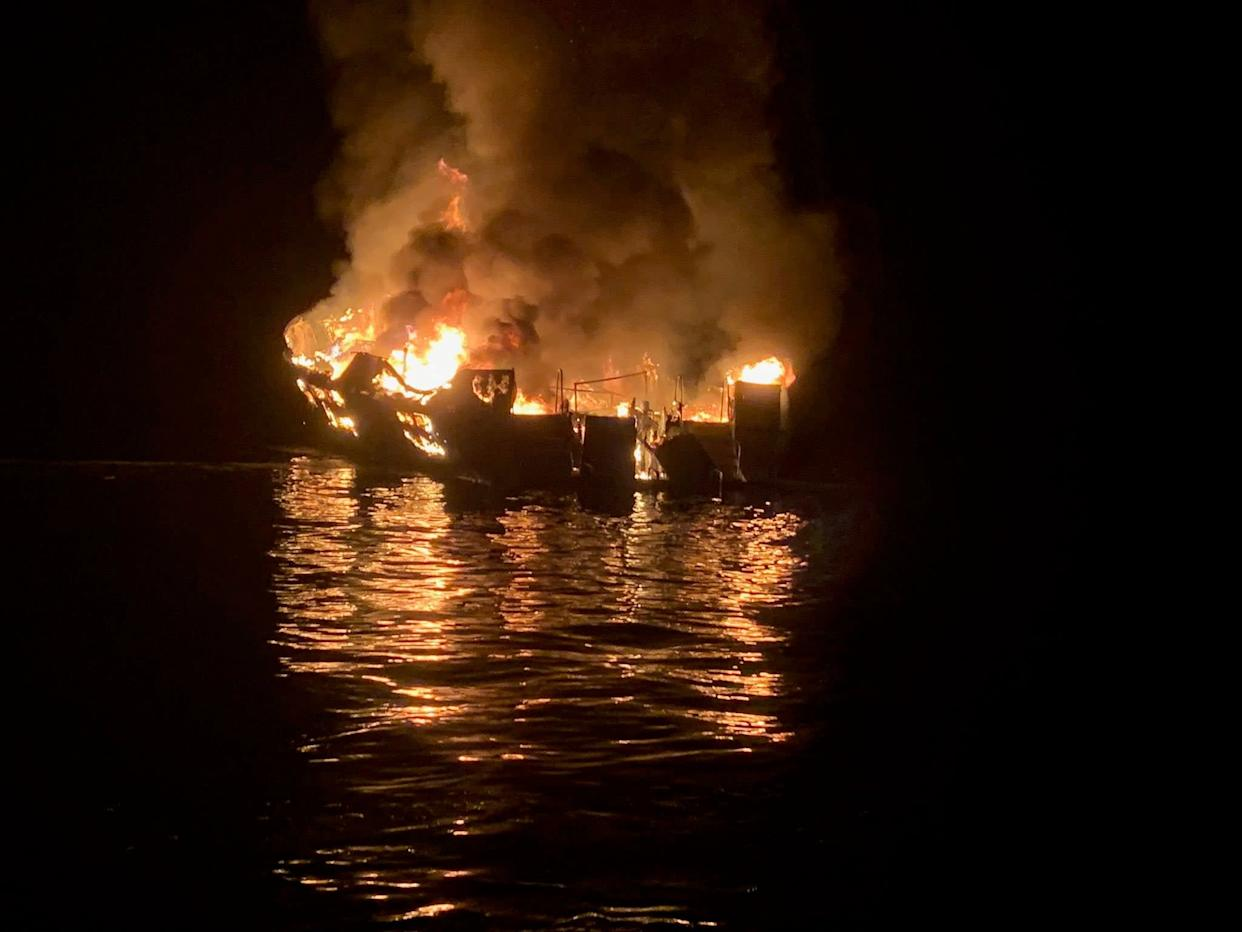 The diving boat Conception on fire off Santa Cruz Island, California: EPA