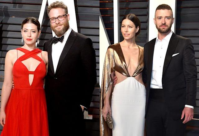 Lauren Miller Rogen and Seth Rogen; Jessica Biel and Justin Timberlake. (Photo: Getty Images)