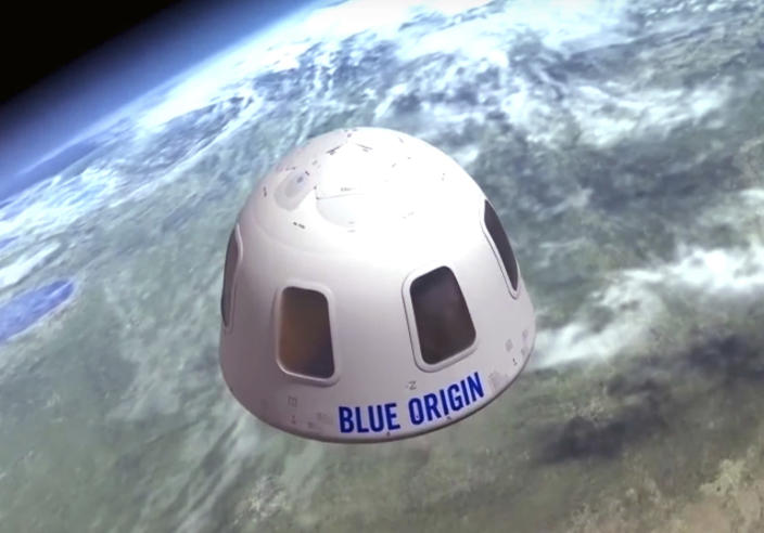 """FILE - This undated illustration provided by Blue Origin shows the capsule that the company aims to take tourists into space. Jeff Bezos' rocket company is already calling its future clients """"astronauts."""" One seat is up for grabs on the New Shepard rocket's debut passenger flight scheduled for July 2021; an online auction is underway. (Blue Origin via AP)"""