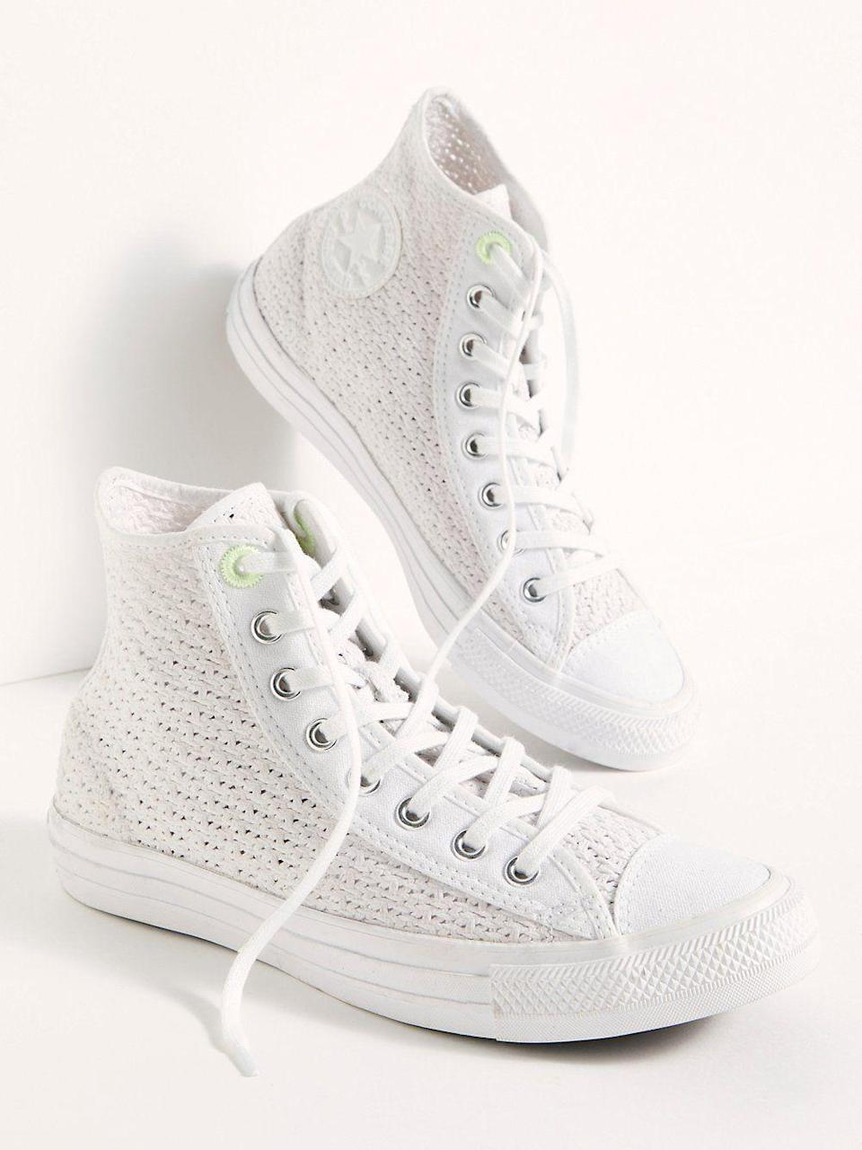 "<p><strong>Converse</strong></p><p>freepeople.com</p><p><strong>$65.00</strong></p><p><a href=""https://go.redirectingat.com?id=74968X1596630&url=https%3A%2F%2Fwww.freepeople.com%2Fshop%2Fchuck-taylor-all-star-crochet-hi-top-sneakers%2F&sref=https%3A%2F%2Fwww.seventeen.com%2Ffashion%2Ftrends%2Fg32826210%2Fclassic-white-sneakers%2F"" rel=""nofollow noopener"" target=""_blank"" data-ylk=""slk:Shop Now"" class=""link rapid-noclick-resp"">Shop Now</a></p><p>Behold: the cutest update to your plain white Chuck Taylor high-tops. </p>"