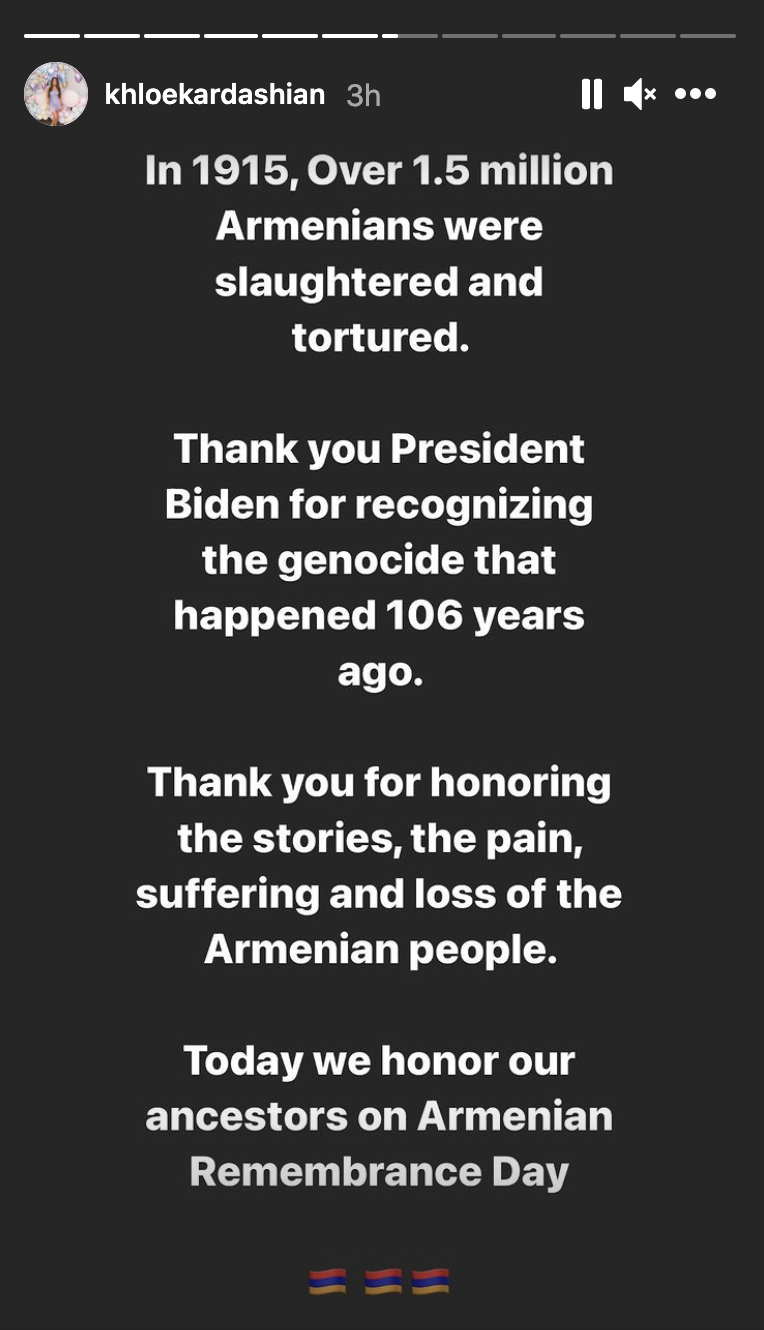 Khloe Kardashian praised President Jo Biden for publicly acknowledging the Armenian Genocide. (Screenshot: Instagram/Khloe Kardashian)