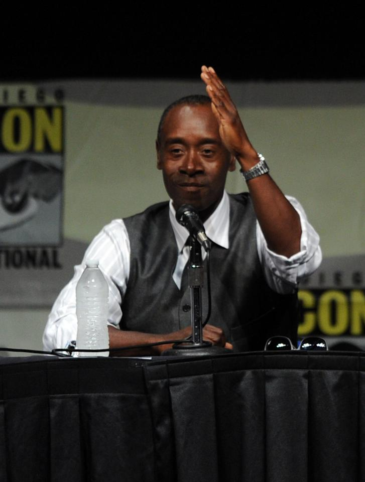 "SAN DIEGO, CA - JULY 14:  Actor Don Cheadle speaks at the ""Iron Man 3"" press conference with Marvel Studios during Comic-Con International 2012 at San Diego Convention Center on July 14, 2012 in San Diego, California.  (Photo by Kevin Winter/Getty Images)"
