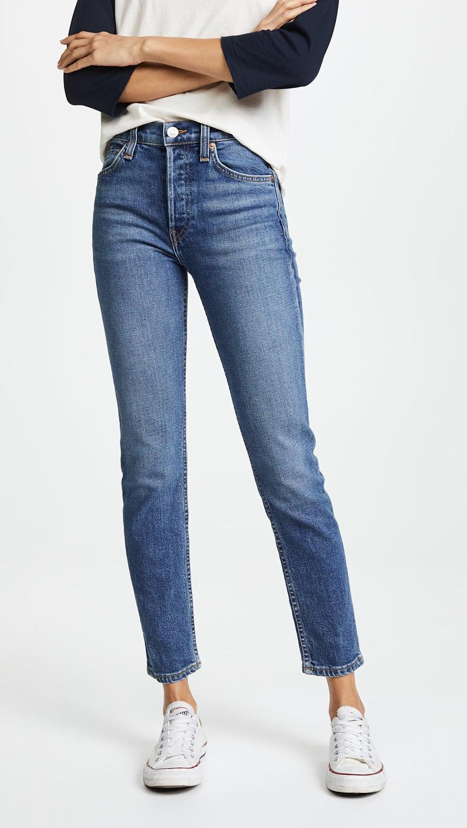 <p>The wash on these <span>RE/DONE High Rise Ankle Crop Jeans</span> ($240) is perfect for every day.</p>