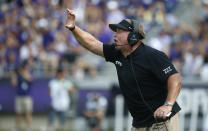 TCU head coach Gary Patterson calls a play against SMU during the first half of an NCAA college football game Saturday, Sept. 21, 2019, in Fort Worth, Texas. (AP Photo/Ron Jenkins)