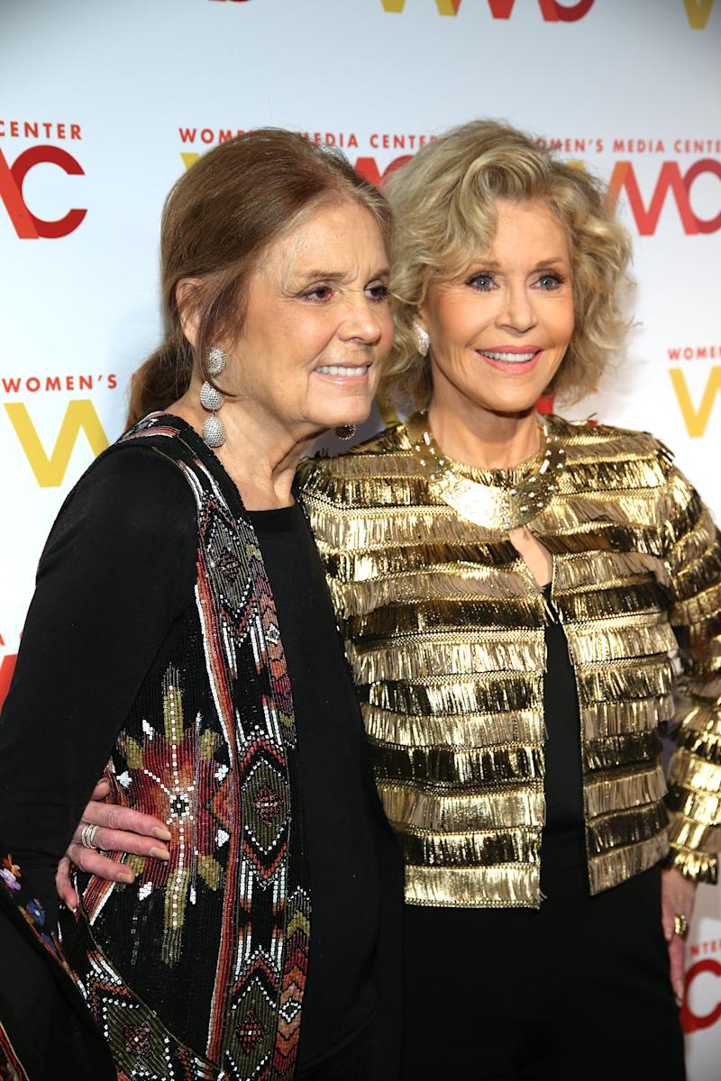 Jane Fonda warned Gloria Steinem (left) about Harvey Weinstein. (Photo: Jemal Countess/Getty Images for Women's Media Center)