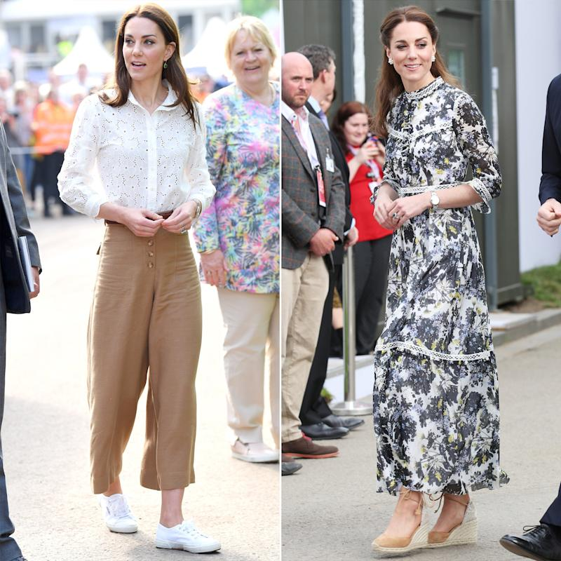 b63d0a7f9bd50 Kate Middleton Swaps Culottes and Sneakers for a Dress and Wedges in  Day-to-Evening Looks