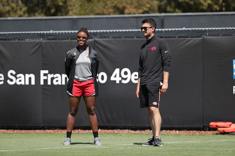 "49ers pro personnel analyst Salli Clavelle: ""I always tell women, you can do whatever you want. You just have to take that same focus and passion you've given everything else and apply it to football."" (Photo courtesy of the San Francisco 49ers)"