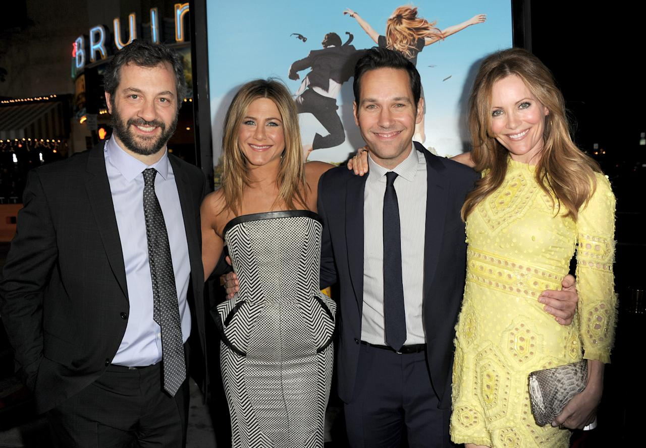 "WESTWOOD, CA - FEBRUARY 16:  (L-R) Producer Judd Apatow, actors Jennifer Aniston, Paul Rudd, and Leslie Mann arrive at the premiere of Universal Pictures' ""Wanderlust"" held at Mann Village Theatre on February 16, 2012 in Westwood, California.  (Photo by Kevin Winter/Getty Images)"