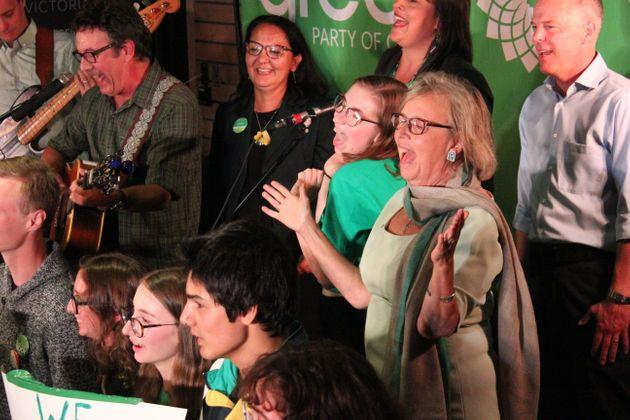 Green Party Leader Elizabeth May and supporters sing during a rally in Victoria Sept. 9.