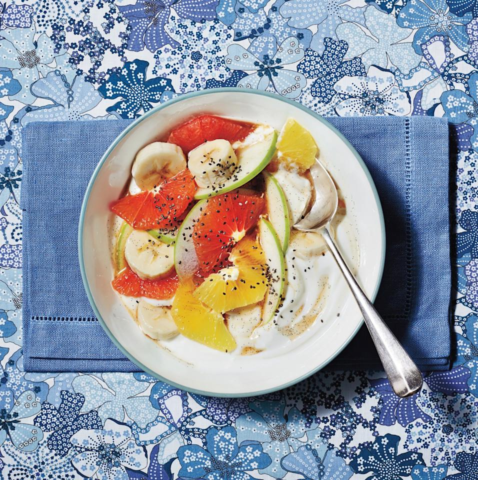 """<p>This breakfast is bright, fresh, and jewel-like. The recipe serves 4 people, though it can be easily doubled and made to work family style, with the fruit in one big serving bowl and the Greek yogurt in another. Because it takes just 10 minutes to pull together, make sure all of your ingredients are of the highest quality. That means using the ripest apples, grapefruit, and banana you can find, and being thorough about removing all of the bitter pith from the grapefruit. The great news is that you can cut up the grapefruit and make the vanilla syrup the night before.</p> <p> <strong>Get the recipe:</strong> <a href=""""https://www.realsimple.com/food-recipes/browse-all-recipes/grapefruit-salad-vanilla-syrup-yogurt"""" target=""""_blank"""">Grapefruit Salad With Vanilla Syrup and Yogurt</a></p>"""