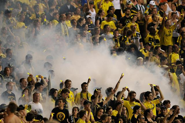 COLUMBUS, OH - JUNE 30: Columbus Crew fans cheer on their team as they play Real Salt Lake on June 30, 2012 at Crew Stadium in Columbus, Ohio. Columbus defeated Real Salt Lake 2-0.(Photo by Jamie Sabau/Getty Images)