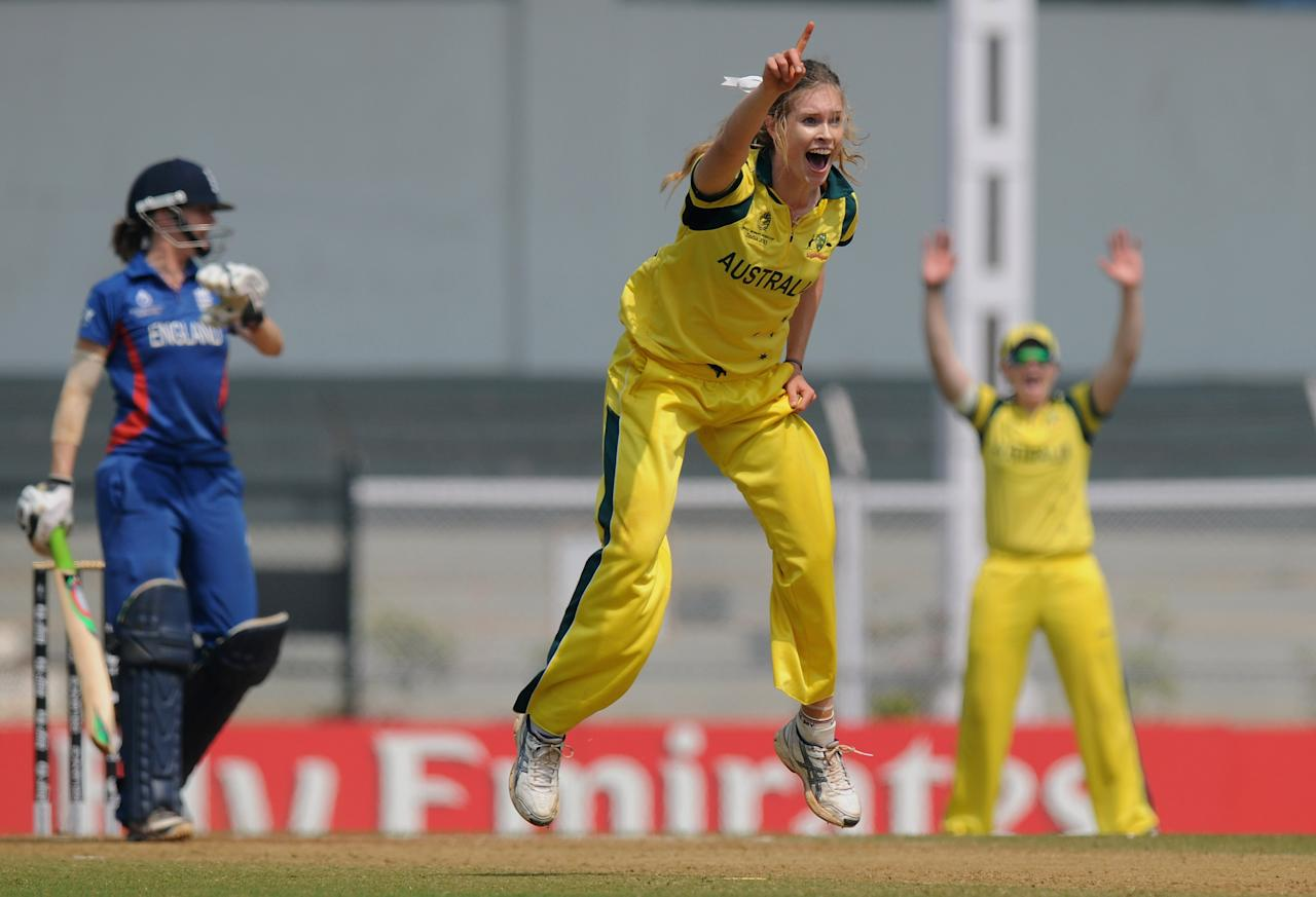 MUMBAI, INDIA - FEBRUARY 08:  Holly Ferling of Australia appeals unsuccessfully for the wicket of Lydia Greenway of England during the super six match between England and Australia held at the CCI (Cricket Club of India) on February 8, 2013 in Mumbai, India.  (Photo by Pal Pillai/Getty Images)