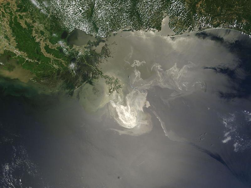 NASA's Terra satellite photo on May 24, 2010, shows the lingering oil slick from the Deepwater Horizon spill off the Mississippi Delta. (Michon Scott/NASA Goddard Space Flight Center)