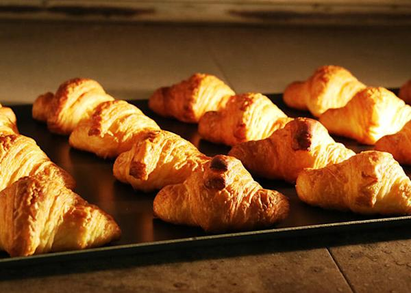 Croissants hot out of the oven offered in the morning