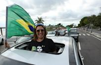 A supporter of far-right Brazilian President Jair Bolsonaro protests against the recommendations for social isolation of the state government of Amazonas due to the spread of coronavirus disease (COVID-19), in Manaus