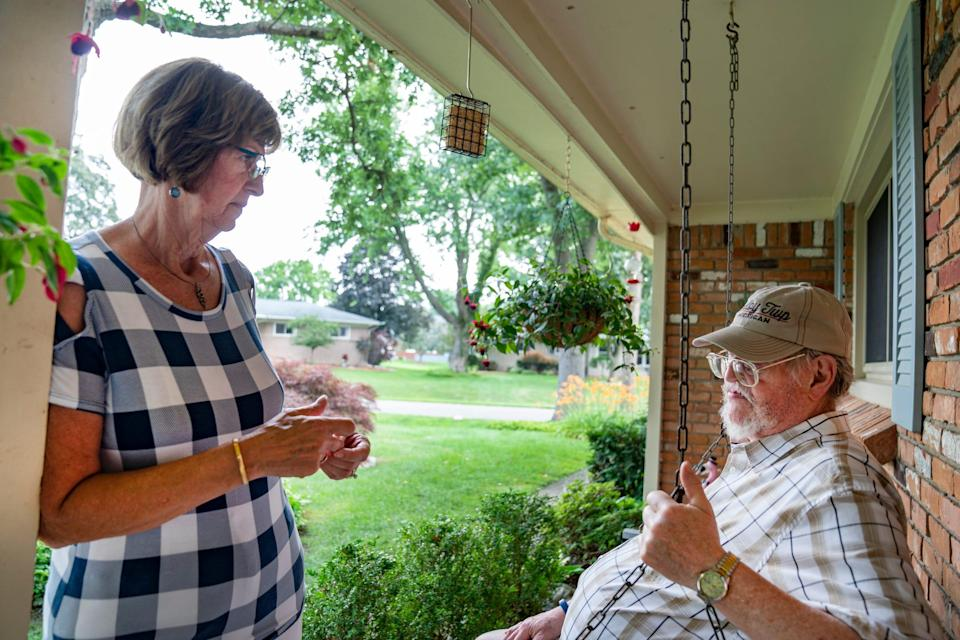 Janice and James Hanlon of Shelby Township both 71, spend time at their home Wednesday, July 7, 2021. The couple has been waiting since March of 2020 for their income tax refund. James Hanlon is concerned he may have made a mistake with the Recovery Rebate Credit now when he used TurboTax.