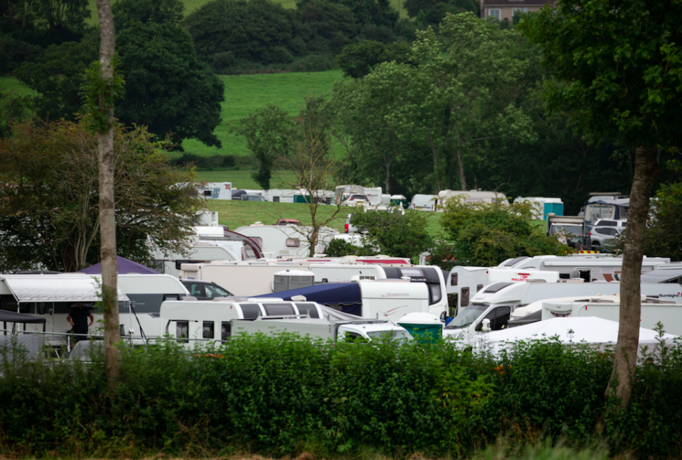 Almost 100 caravans, camper vans and trailers arrived in Cheddar on Monday. (SWNS)