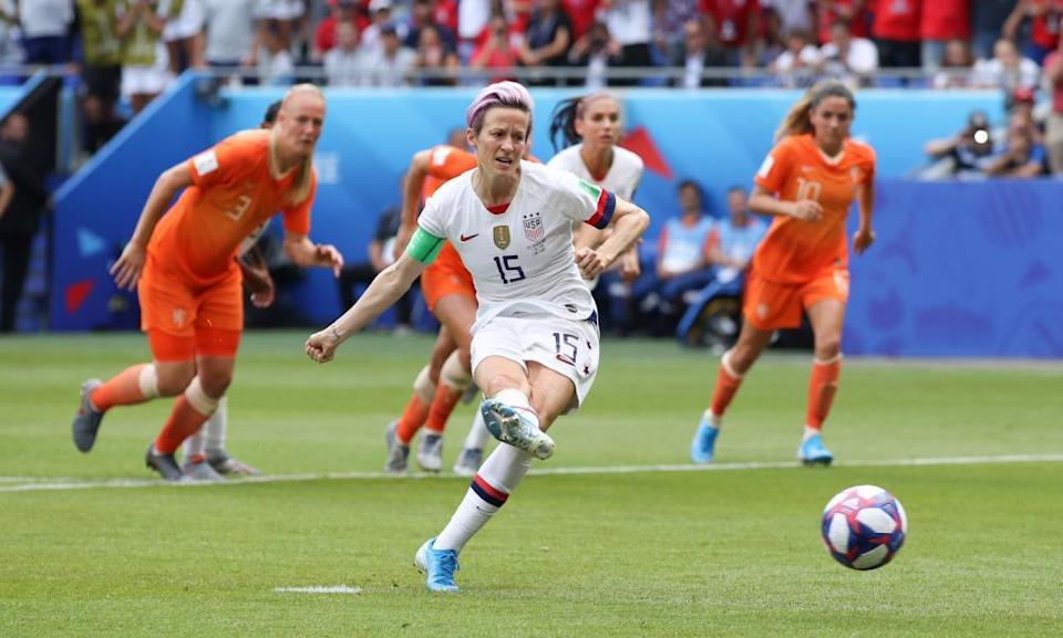 Megan Rapinoe scores for USA against Netherlands in the 2019 World Cup final.