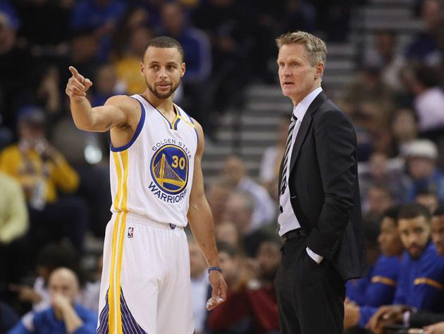 Steve Kerr and Stephen Curry talk percentages. (Getty Images)