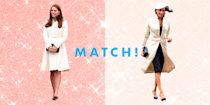 """<p>Meghan Markle became official royalty when she and Prince Harry tied the knot back in 2018, but she's been a fashion queen since long before then. Her <em>Suits</em> days prove that she knew a lot about fashion before she became a royal, and she could pull off just about anything. Megs even single-handedly put these cute AF <a href=""""https://www.cosmopolitan.com/style-beauty/fashion/a32935204/meghan-markle-veja-sneaker-sale/"""" rel=""""nofollow noopener"""" target=""""_blank"""" data-ylk=""""slk:sneakers"""" class=""""link rapid-noclick-resp"""">sneakers</a> on the map, which TBH is no surprise to anyone. She frequents designers like Givenchy and Dior, while also throwing in some Aritzia and J.Crew to the mix. Even royalty love a good bargain! Just ask her royal sis-in-law Kate Middleton whose style is just as *chef's kiss*! <span>And in spite of rumors that Megs and Kate Middleton are arch nemeses (</span><a href=""""https://www.cosmopolitan.com/entertainment/celebs/a28504173/meghan-markle-kate-middleton-friendship-texts/"""" rel=""""nofollow noopener"""" target=""""_blank"""" data-ylk=""""slk:let's squash those, mmmkay?"""" class=""""link rapid-noclick-resp"""">let's squash those, mmmkay?</a><span>), the two definitely agree on one thing: their fashion sense. Here are 25 times the Duchesses dressed *exactly* the same.</span></p>"""
