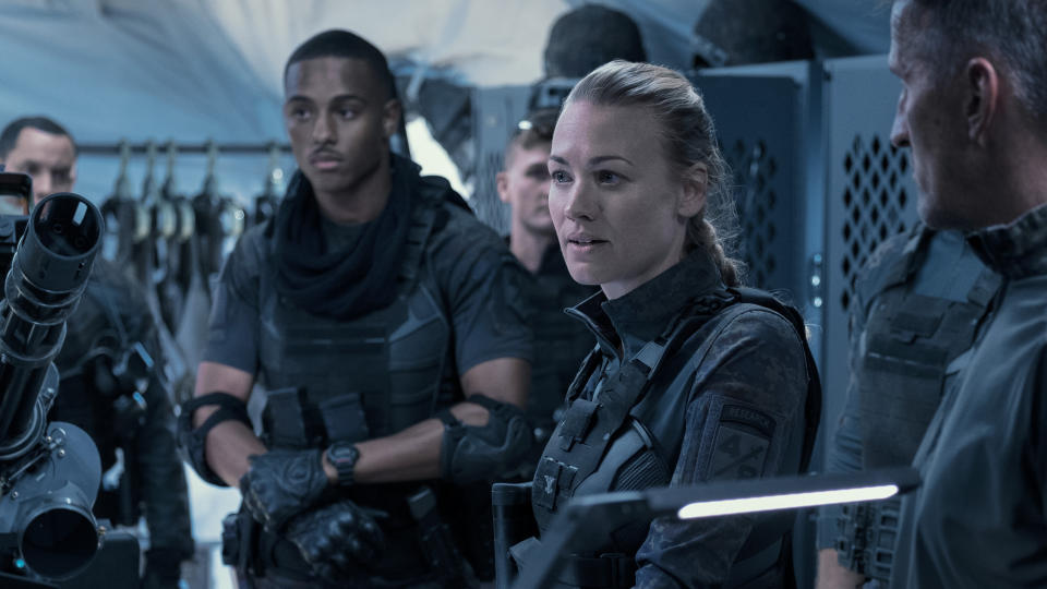 Yvonne Strahovski is one of the leaders of the human resistance in 'The Tomorrow War'. (Amazon Prime Video)